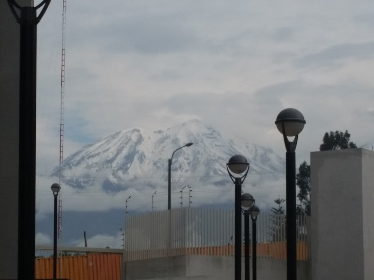 El Misti..the giant volcano covered 1/2 way with snow.