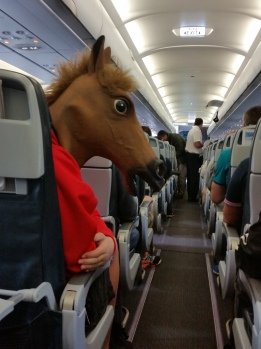 A little horsing around on our flight.