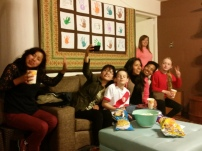 Watching Peru vs Colombia soccer match with the students at our home.