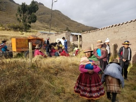 Villagers lined up for treatment