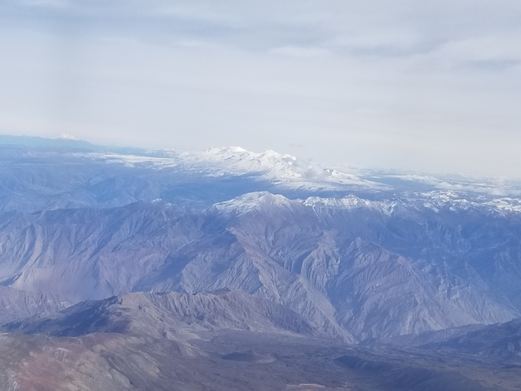 The snow capped mountains of the Andes.